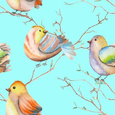 tomtit: Seamless pattern of the watercolor birds on the tree branches, hand drawn on a blue background