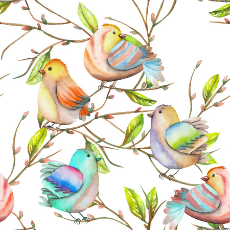 tomtit: Seamless pattern of the watercolor birds on the tree branches, hand drawn on a white background Stock Photo