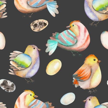 tomtit: Seamless pattern of the watercolor birds and eggs, hand drawn isolated on a dark background