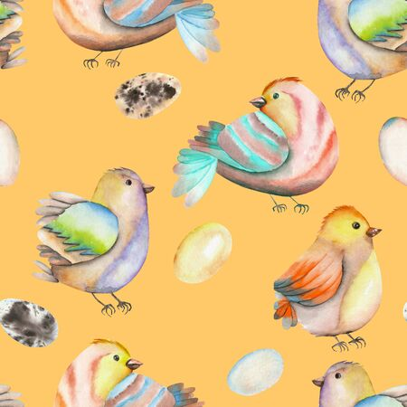 tomtit: Seamless pattern of the watercolor birds and eggs, hand drawn isolated on an orange background