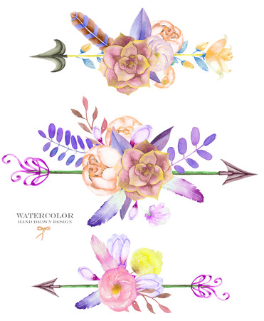 A decorative bouquets with the watercolor floral elements: succulents, flowers, leaves, feathers, arrows and branches, on a white background, for a greeting card, a decoration of a wedding invitation Stockfoto