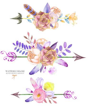 Um bouquets decorativos com os elementos florais da aguarela: succulents, flores, folhas, penas, setas e filiais, em um fundo branco, para um cart
