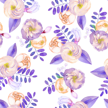 florescence: A seamless pattern with purple flowers, leaves and branches on a white background Stock Photo