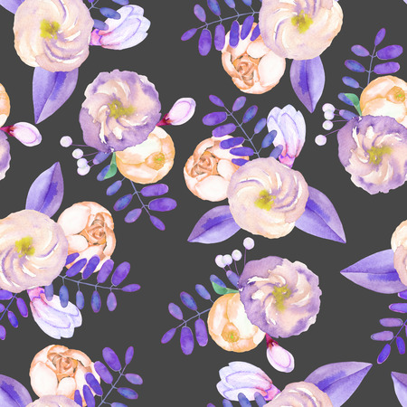 florescence: A seamless pattern with purple flowers, leaves and branches on a dark background Stock Photo