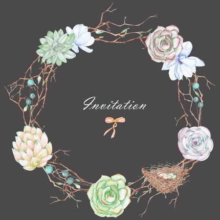 peyote: A circle frame, wreath with watercolor flowers, tree branches and succulents, hand drawn on a dark background, a greeting card, a decoration postcard or wedding invitation Stock Photo