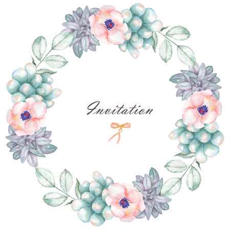 florescence: A circle frame, wreath with watercolor flowers and succulents, hand drawn on a white background, a greeting card, a decoration postcard or wedding invitation