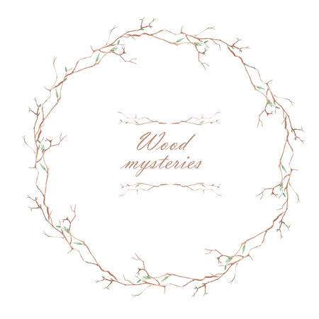 magnolia tree: Frame border, wreath of the magnolia tree branches painted in a watercolor on a white background, greeting card, decoration postcard or invitation card