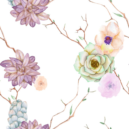 A seamless pattern with the succulents, flowers, leaves and branches, on a white background Stock Photo