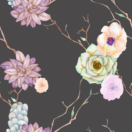 florescence: A seamless pattern with the succulents, flowers, leaves and branches, on a dark background