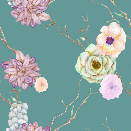 peyote: A seamless pattern with the succulents, flowers, leaves and branches, on a green background