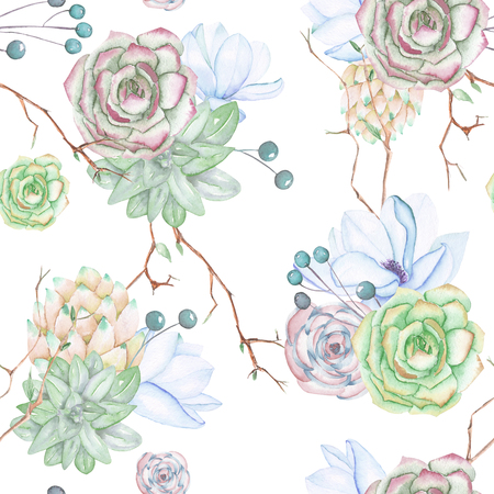 A seamless pattern with the succulents, flowers, leaves and branches, on a white background Banco de Imagens