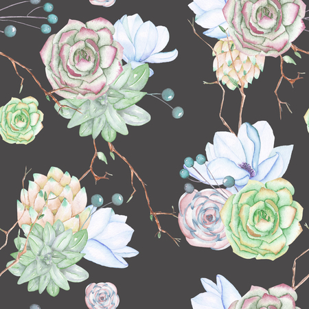 florescence: A seamless pattern with the succulents, flowers, leaves and branches, on a dark blue background