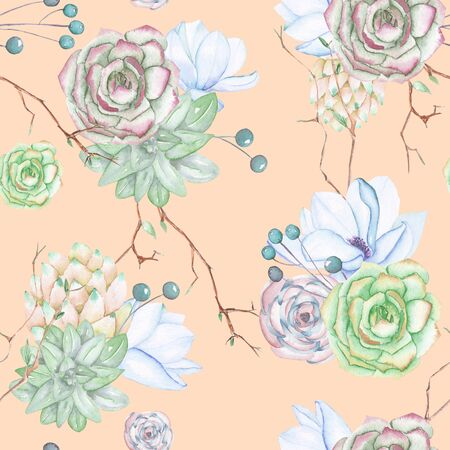 palm wreath: A seamless pattern with the succulents, flowers, leaves and branches, on a pink background