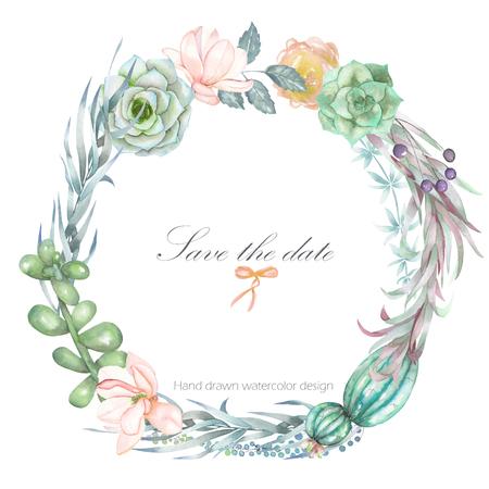 一個圓形框架,花圈,與水彩花卉和多汁的文本框的邊框,手在白色背景,賀卡,裝飾明信片或婚禮請柬繪製 版權商用圖片