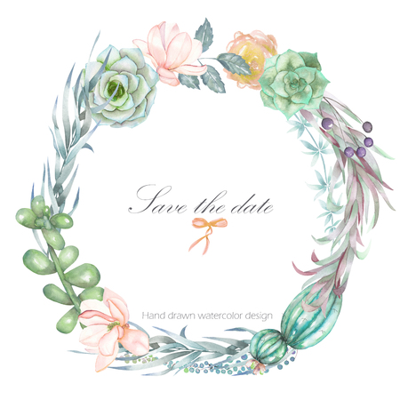 Một khung hình tròn, vòng hoa, biên giới khung cho một văn bản với những bông hoa màu nước và succulents, vẽ tay trên nền trắng, một tấm thiệp chúc mừng, một tấm bưu thiếp trang trí hoặc lời mời đám cưới