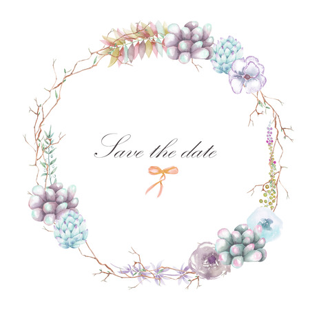peyote: A circle frame, wreath with watercolor plants and succulents, hand drawn on a white background, a greeting card, a decoration postcard or wedding invitation Stock Photo