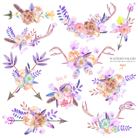 A decorative bouquets with the watercolor floral elements: succulents, flowers, antlers, leaves, feathers, arrows and branches, on a white background, for a greeting card, a decoration of a wedding invitation Stock Photo