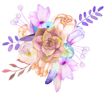 A decorative bouquet with the watercolor floral elements: flowers, leaves, succulent, feathers and branches, on a white background, for a greeting card, a decoration of a wedding invitation