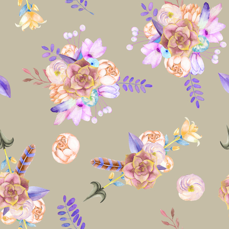 gray anemone: A seamless pattern with purple flowers, leaves, feathers, arrows and branches on a grey background