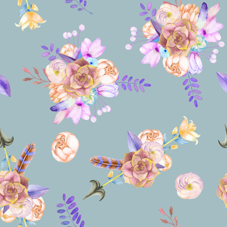 A seamless pattern with purple flowers, leaves, feathers, arrows and branches on a blue background