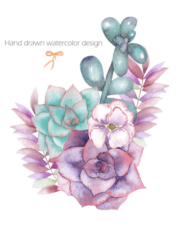 palm wreath: A decorative bouquet with the watercolor floral elements: succulents, flowers, leaves and branches, on a white background, for a greeting card or invitation