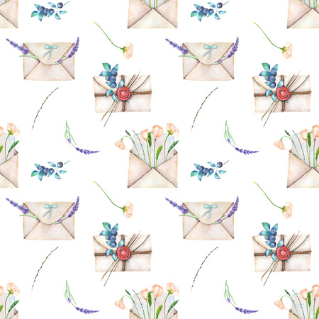 sealing: Seamless pattern with watercolor vintage mail envelopes and flowers, hand drawn on a white background Stock Photo
