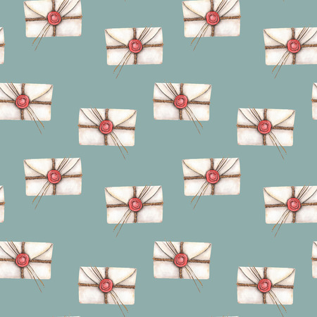 sealing: Seamless pattern with watercolor vintage mail envelopes, hand drawn on a blue background