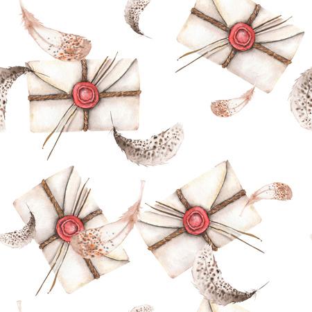 Modèle sans couture avec enveloppes de courrier vintage aquarelle et plumes, dessinés à la main sur un fond blanc Banque d'images
