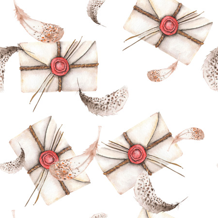 Seamless pattern with watercolor vintage mail envelopes and feathers, hand drawn on a white background Stock Photo