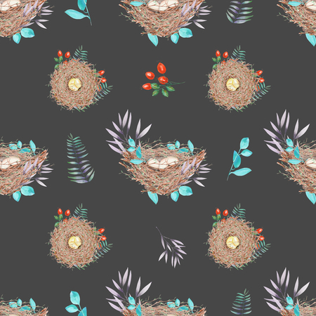 feathery: Seamless pattern with watercolor bird nests with eggs, in plants and berries, hand drawn isolated on a dark background
