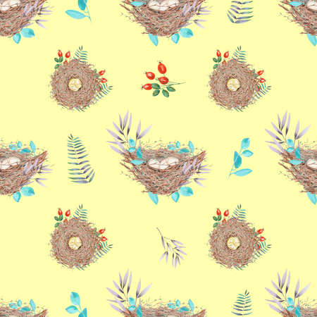 paschal: Seamless pattern with watercolor bird nests with eggs, in plants and berries, hand drawn isolated on a yellow background Stock Photo