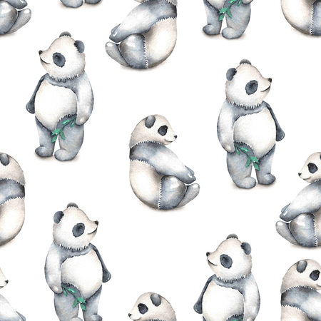 china watercolor paint: Seamless pattern with watercolor pandas, hand drawn isolated on a white background