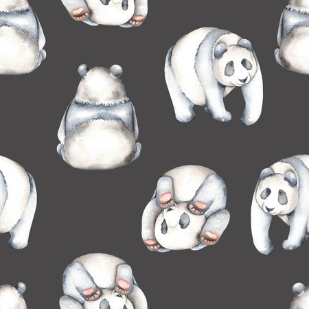 china watercolor paint: Seamless pattern with watercolor pandas, hand drawn isolated on a dark background