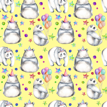 china watercolor paint: Seamless pattern with watercolor festive pandas, hand drawn isolated on a yellow background