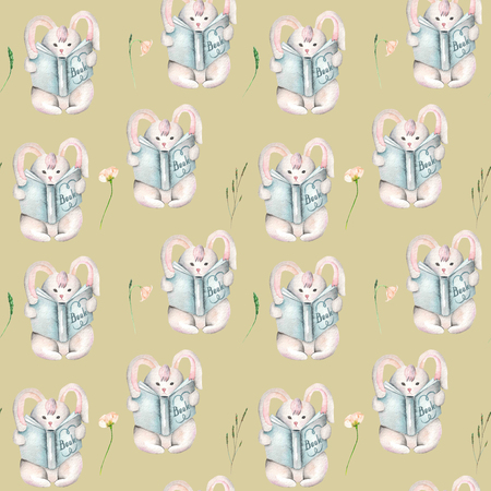 tender: Seamless pattern with watercolor rabbits with books and flowers, hand drawn isolated on a brown background Stock Photo