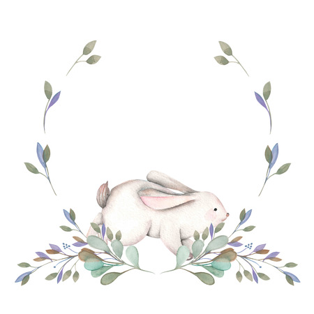 Illustration, wreath with watercolor rabbit and green branches, hand drawn isolated on a white background, invitation, greeting card
