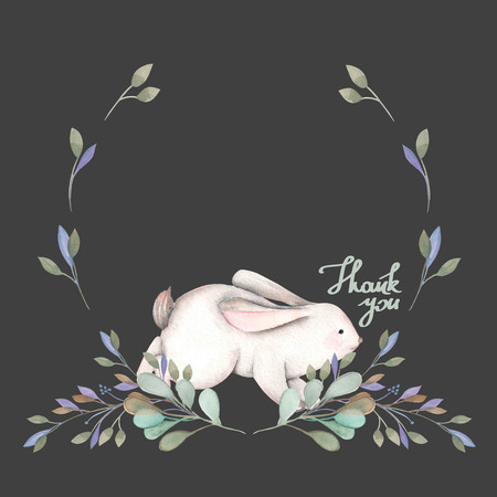dcor: Illustration, wreath with watercolor rabbit and green branches, hand drawn isolated on a dark background, invitation, greeting card