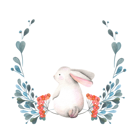 dcor: Illustration, wreath with watercolor rabbit, green branches and red berries, hand drawn isolated on a white background, invitation, greeting card