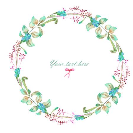 サークル フレーム、花要素の花輪、手描き水彩・白の背景、グリーティング カード、装飾はがきや招待状に