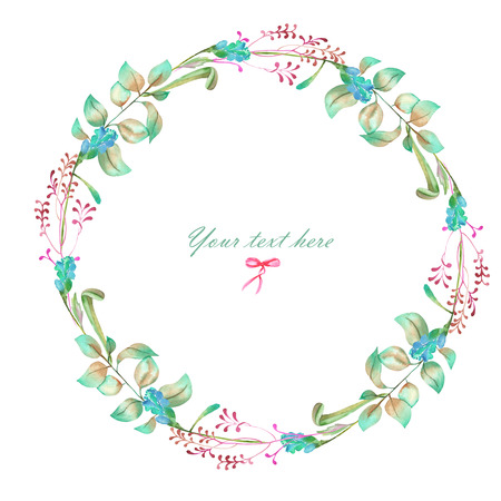 Circle frame, wreath of floral elements, hand painted in watercolor on a white background, greeting card, decoration postcard or invitation Stockfoto