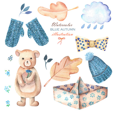 mitten: Collection, set of watercolor autumn objects (sad bear toy, paper boat, rain cloud, dry tree leaves and other), hand drawn isolated on a white background Stock Photo