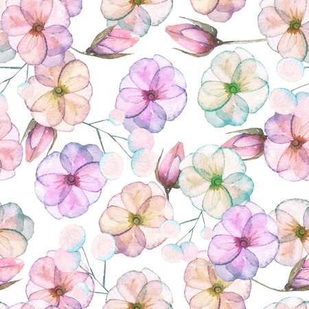 pastel shades: Seamless pattern with watercolor tender flowers in pink and purple pastel shades, hand drawn on a white background