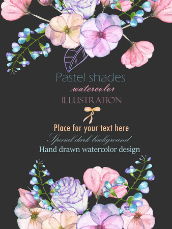 Template postcard with with watercolor tender flowers and leaves in pastel shades, hand drawn on a dark background, for invitation, card decoration and other works, wedding design, greeting card Stock Photo
