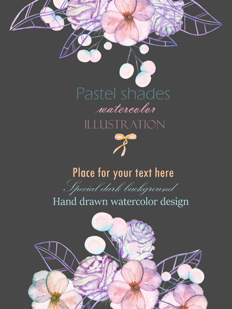 pastel shades: Template postcard with with watercolor tender flowers and leaves in pastel shades, hand drawn on a dark background, for invitation, card decoration and other works, wedding design, greeting card Stock Photo