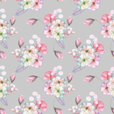 pastel shades: Seamless pattern with isolated watercolor floral bouquets from tender flowers and leaves in pink and purple pastel shades, hand drawn on a gray background Stock Photo