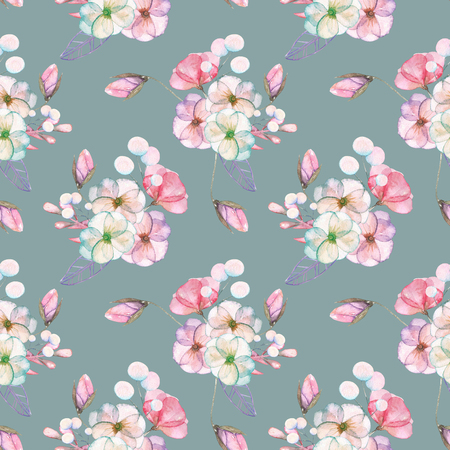 pastel shades: Seamless pattern with isolated watercolor floral bouquets from tender flowers and leaves in pink and purple pastel shades, hand drawn on a gray-blue background