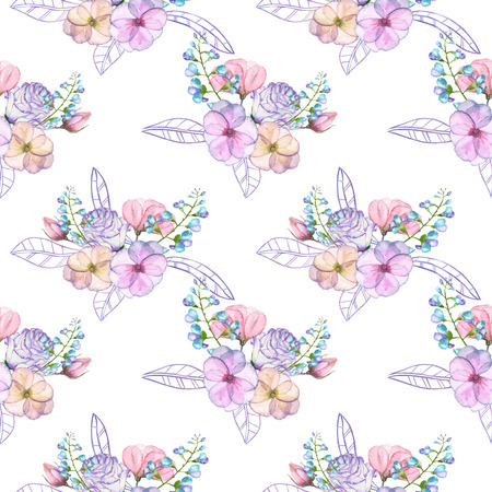 florescence: Seamless pattern with isolated watercolor floral bouquets from tender flowers and leaves in pink and purple pastel shades, hand drawn on a white background
