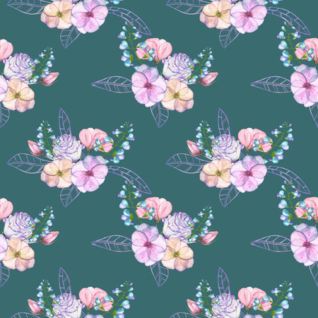pastel shades: Seamless pattern with isolated watercolor floral bouquets from tender flowers and leaves in pink and purple pastel shades, hand drawn on a dark green background Stock Photo