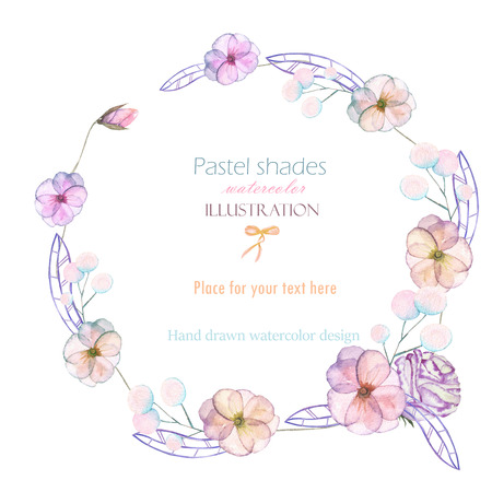 pastel shades: Circle frame, border, wreath with watercolor tender flowers and leaves in pastel shades, hand drawn on a white background, for invitation, card decoration and other works