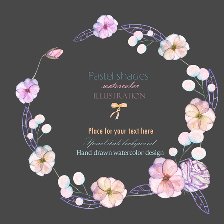 pastel shades: Circle frame, border, wreath with watercolor tender flowers and leaves in pastel shades, hand drawn on a dark background, for invitation, card decoration and other works